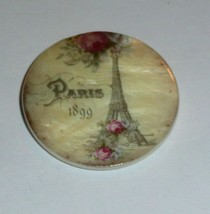 "Eiffel Tower  Paris 1899 France Mother of Pearl Shank Button 1+3/8"" Flow... - $11.39"