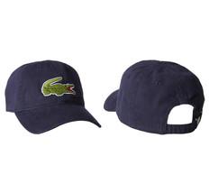 Lacoste Men's Navy Blue Gabardine Cotton Hat Big Croc Logo Strap Back Cap