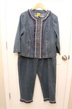 RUBY RD Sz 12 DENIM Jacket  & Sz 14 Crop Pant Set - FRINGE/BEAD Detail - $24.75