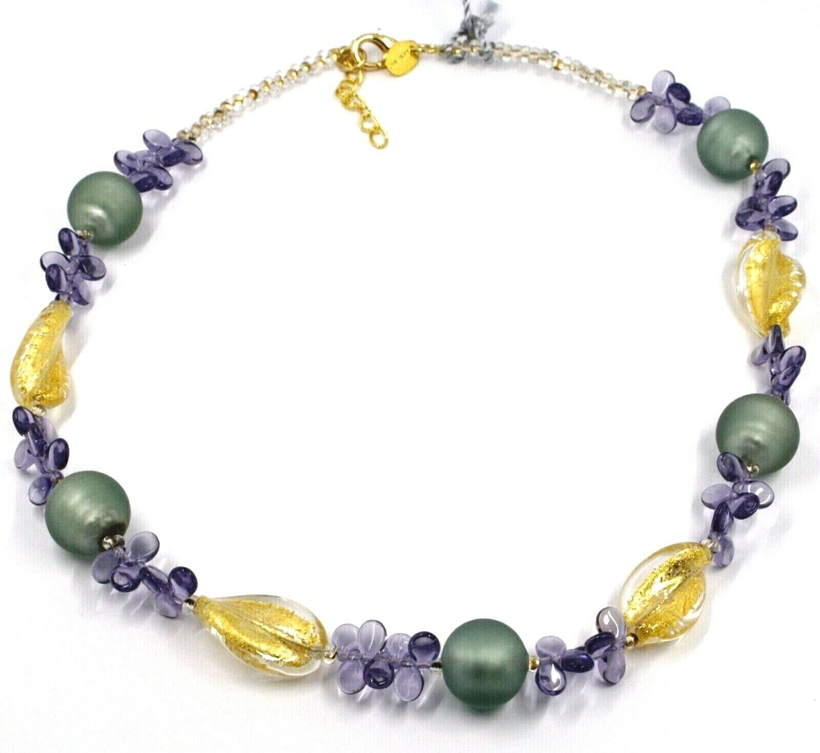 NECKLACE PETALS DROPS, SATIN SPHERE SPIRAL WAVE PURPLE YELLOW MURANO GLASS ITALY