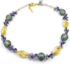 NECKLACE PETALS DROPS, SATIN SPHERE SPIRAL WAVE PURPLE YELLOW MURANO GLASS ITALY image 1