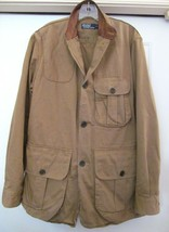 POLO RALPH LAUREN Field Jacket Coat w Leather Collar Made for EU Size L ... - $119.95