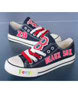 boston red sox shoes customized beaux sox sneakers blue #29 - $65.00