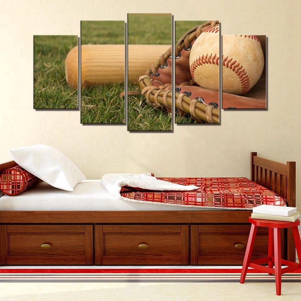 Baseball Home Decor: Framed 5 Piece Baseball & Glove Boys Canvas Prints