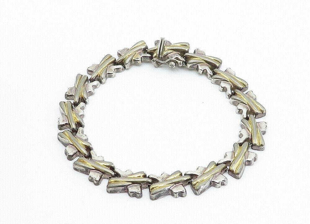 925 Sterling Silver - Vintage Two Tone X Link Chain Bracelet - B6116 image 2
