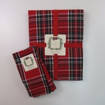 "Ridgefield Home Red Plaid Christmas Holiday Tablecloth & 4 Napkins 60"" R... - $48.26"
