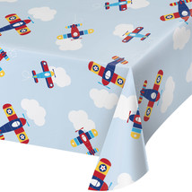 "Lil' Flyer Airplane 54"" x 102"" Plastic Tablecloth, Case of 6 - €31,63 EUR"