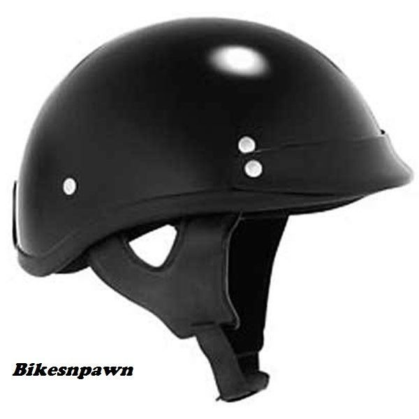 New 2XL Skid Lid Traditional Gloss Black 1/2 Helmet DOT