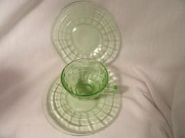 Green Block Depression Glass Cup 2 Sherbet Liner  Mint - $6.49