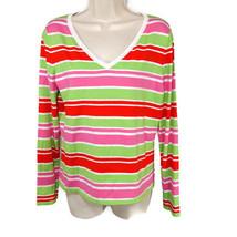 Talbots V-neck Knit Top Sweater Women Size M Pink Green Long Slv Stretch... - $14.82