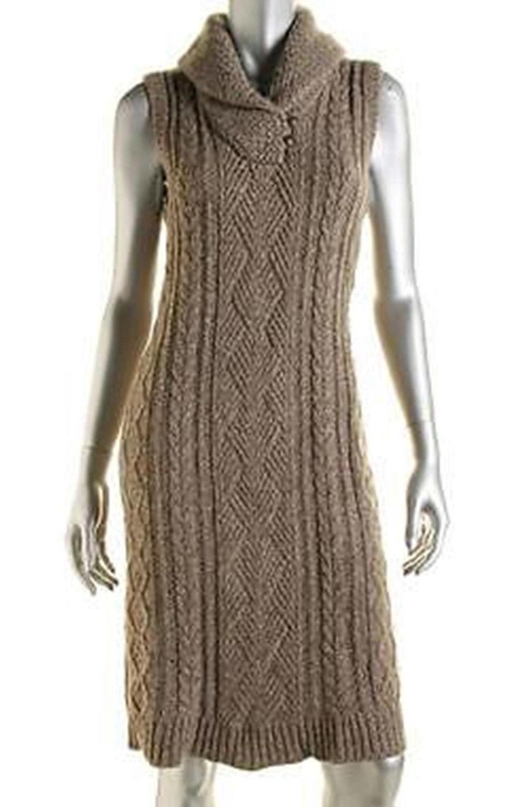 LRL Lauren Jeans Co. Womens Brown Knit Marled Wool Blend Sweater dress Size S