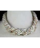 14 LINE 519 CTS NATURAL MOONSTONE ROUND GEMSTONE BEADS NECKLACE WITH SIL... - $247.00