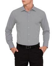 Van Heusen Mens Sateen Regular Fit Textured Check Dress Shirt Olive Gray 17 - $14.99