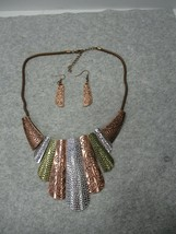 Copper Silver Brass Tone Statement Collar Necklace W/ Dangle Earrings  - $13.99