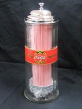 """Coca-Cola  Glass Straw Dispenser """"Drink Coca Cola 5 Cents"""" w/straws - NIB - $35.64"""