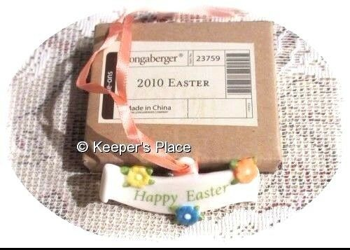 Longaberger Happy Easter Tie-On Basket Porcelain Charm 2010 New In Box Retired - $12.00