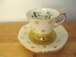 "RARE Royal Adderley Bone China Yellow/Dogwood Swirly Cup & Saucer ""Ridge... - $55.17"