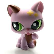 Littlest Pet Shop #1718 Kitty Cat Licking Paw Purple Yellow Flowers Green Eyes - $9.46