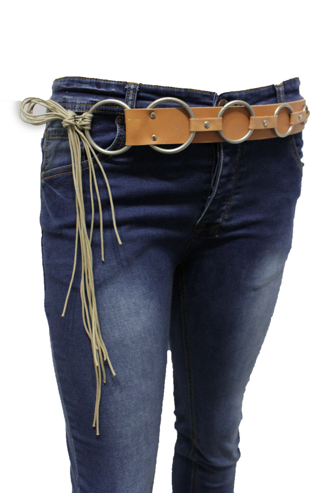Damen Beige Kunstleder West Lang Fransen Tie Modischer Gürtel Silberring S M L