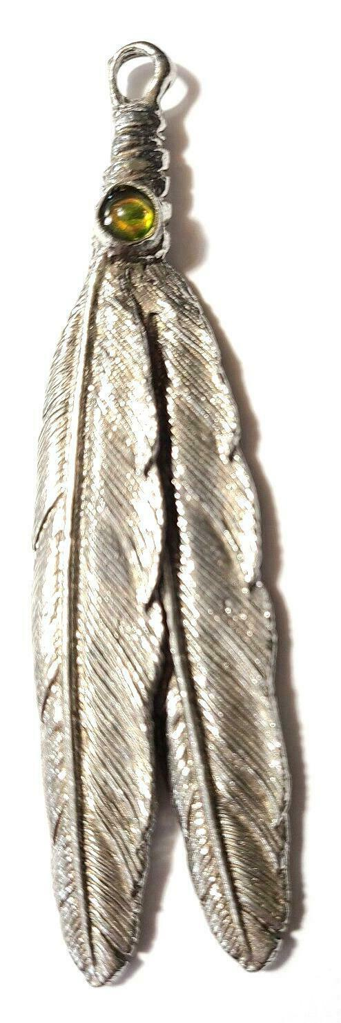 """LARGE HANGING FEATHER  FINE PEWTER PENDANT Approx. 3 7/8"""" w/ Crystal   (T149)"""