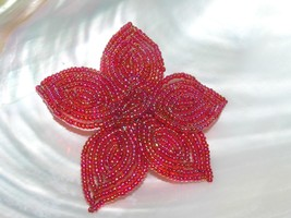 Estate Handmade Red Aurora Borealis Beaded Poinsettia Flower Holiday Chr... - $13.99