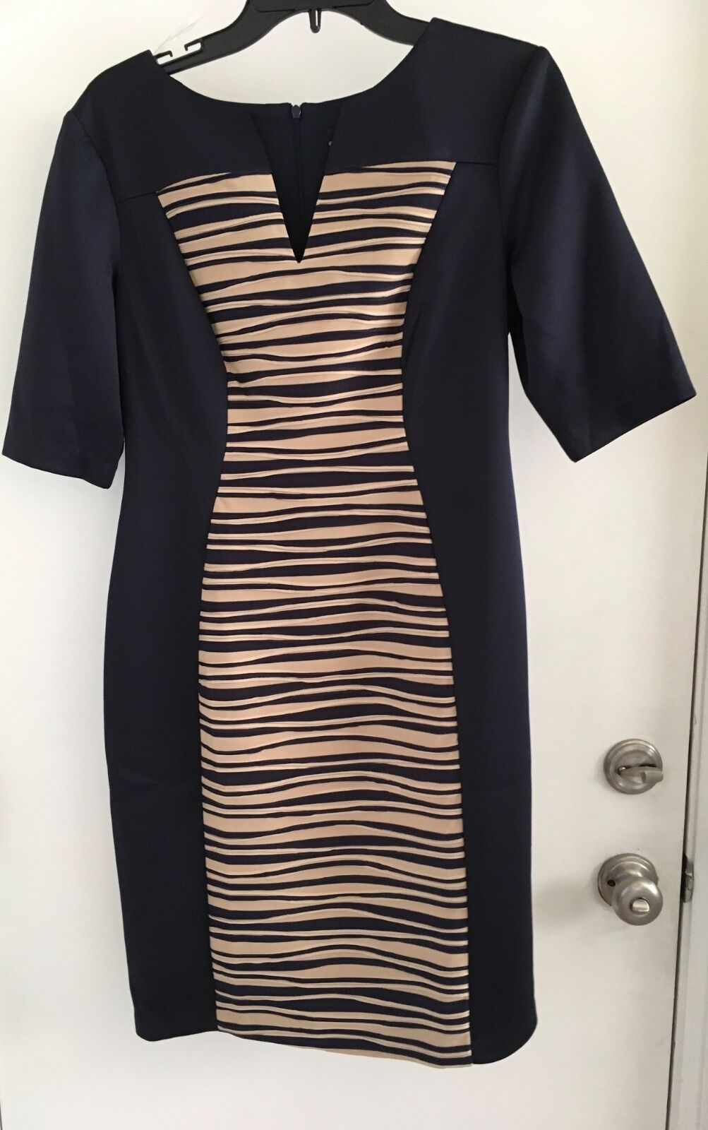 Connected Laser cut Panel Sheath midnight blue with beig insert Dress Size 8 NWT