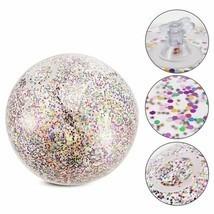 Inflatable Glitter Confetti Beach Ball Pool Toys Kids Outdoor Summer Wat... - £6.59 GBP+