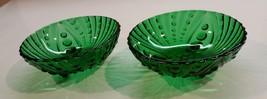 Vintage 1950s Set of 2 Anchor Hocking Burple Green three toed dessert bowls - $14.99