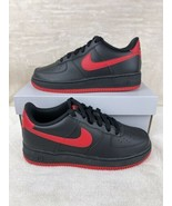 Nike Air Force 1 (GS) Fashion Sneakers Leather Black Red Boys Size 6y Bred - $128.67