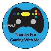 12 Video Game party stickers Birthday favors labels tags controller roun... - $8.99