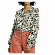 A New Day Womens Long Sleeve Cheetah Print Peasant Blouse, Black/White (... - $15.83
