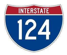 Interstate 124 Sticker R2000 Highway Sign Road Sign - $1.45+