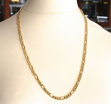 """18K GOLD FIGARO GOURMETTE ROUNDED CHAIN 4 MM WIDTH, 24"""", ALTERNATE 3+1 NECKLACE image 4"""