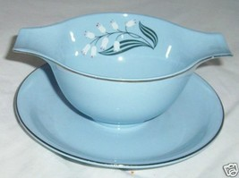 HOMER LAUGHLIN SKYTONE BLUE MIST GRAVY BOAT RETRO - $37.02