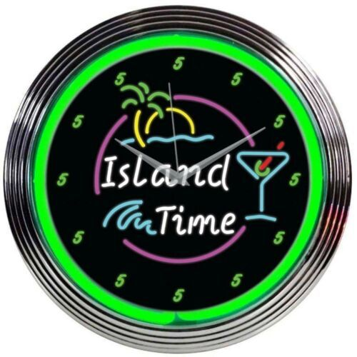 "Primary image for Island Time Neon Clock 15""x15"""
