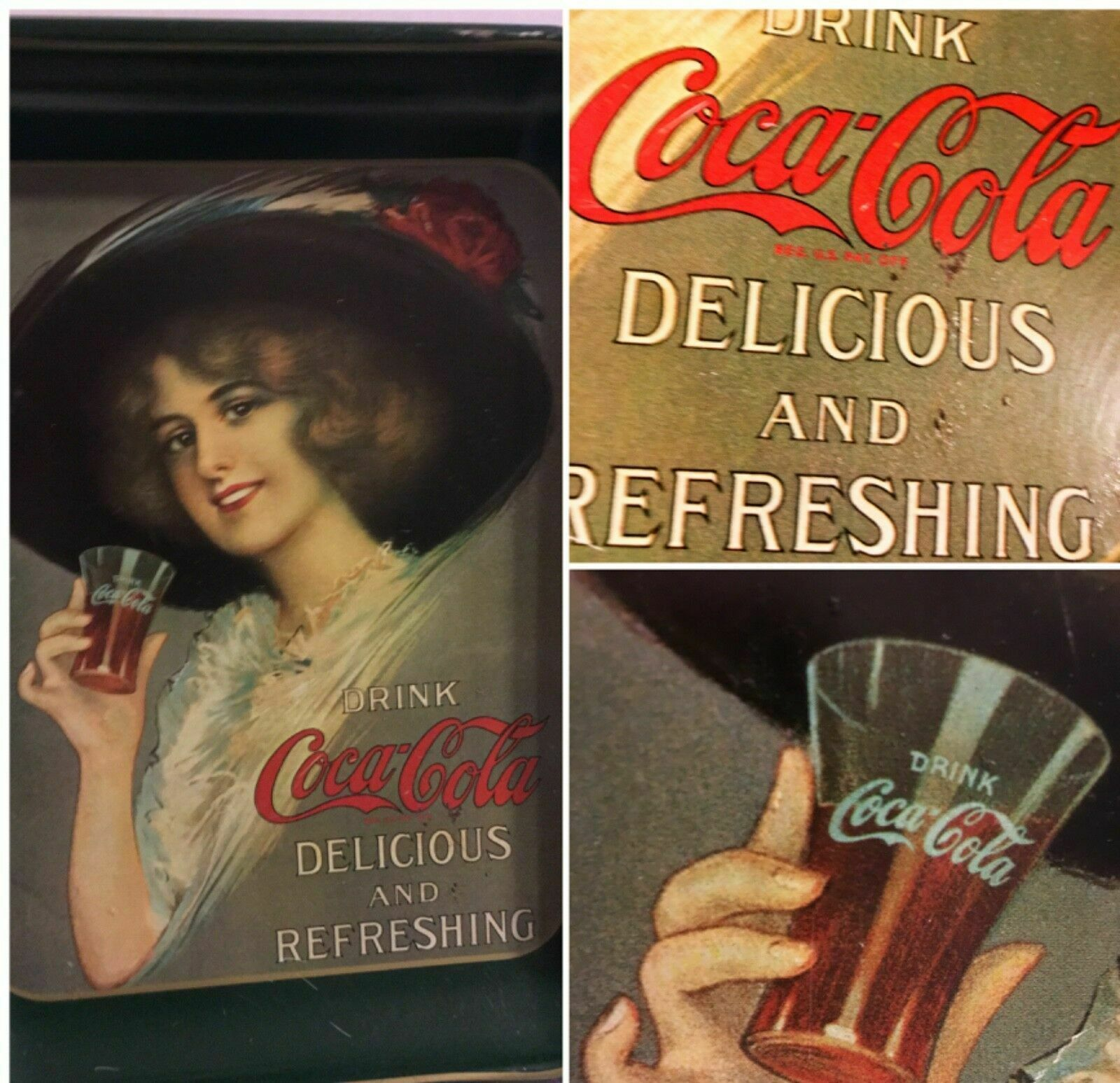 Primary image for 1970's Victorian Lady Hat Coca Cola Collectible Metal Tray    SKU 027-65
