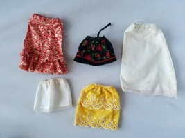 Vintage Barbie Doll Clothes Lot of Retro Mod Skirts Set of 5 Yellow Whit... - $25.06