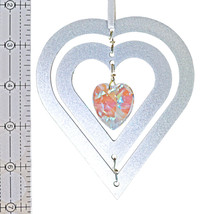 3D Aluminum and Crystal Heart Ornament image 3