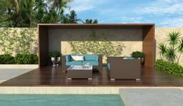 5 Piece Brown Wicker Outdoor Sectional Sofa Set Augusta New - $829.00