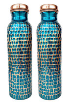 2 Copper Hammered Water Bottle Thermoses Water Drink Ware Set Ayurveda H... - $65.07