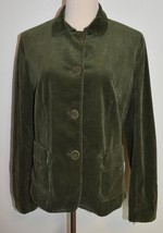 New Talbots Sz 14 Corduroy Jacket Green Ribbed Cotton Button Blazer Lined - $34.55