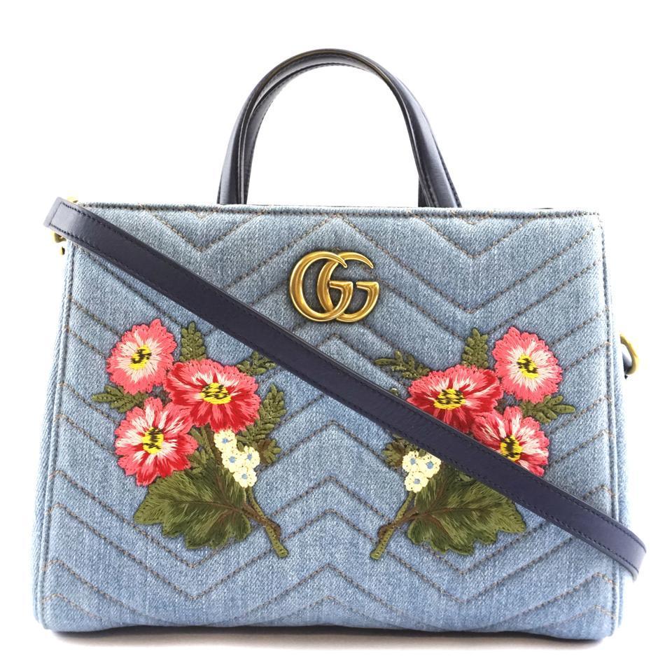#31642 Gucci Marmont Gg Embroidered Matelasse Logo Tote Blue Denim Shoulder Bag