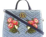 Rmont 31642 gg embroidered matelasse logo tote blue denim shoulder bag 0 1 960 960 thumb155 crop