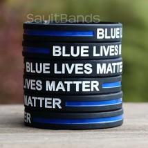 100 CHILD Size Blue Lives Matter Bands Thin Blue Line Law Enforcement Wristbands - $49.49