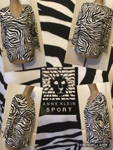 NEW Anne Klein Sport Animal Print Top Size Med 3/4 Sleeve 100% Cotton Re... - $12.86