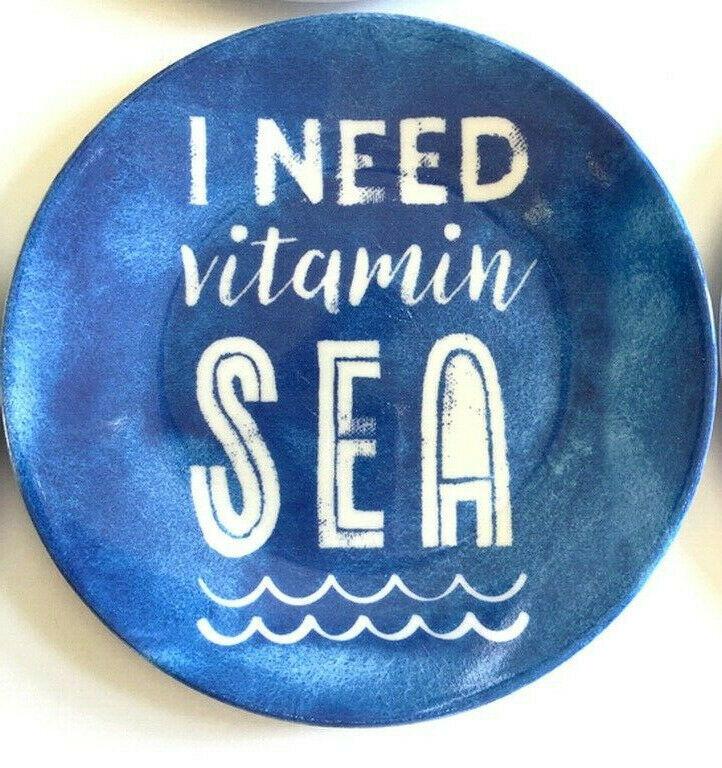 "Melamine Tidbit Appetizer Side Plates 6"" Set of 6 I Need Vitamin Sea Beach House"