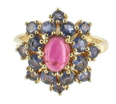 Vintage 14k Yellow Gold .50ct Pink Tourmaline Tanzanite Cocktail Burst R... - $494.99