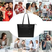 15.6 Inch Briefcase for Women, Laptop Tote Bag Bottom with 4 Metal Feet, Multi F image 7