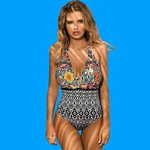 Women's Designer V- Neck Tummy Control Halter One Piece Swimsuit image 5