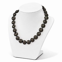 """STERLING SILVER SINGLE STRAND BLACK 14 - 15 MM COIN SHELL PEARL 18"""" NECK... - $96.62"""